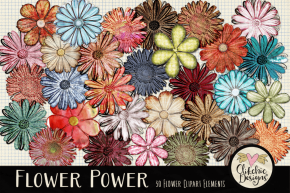Flower Clipart Elements Graphic Illustrations By clikchicdesigns