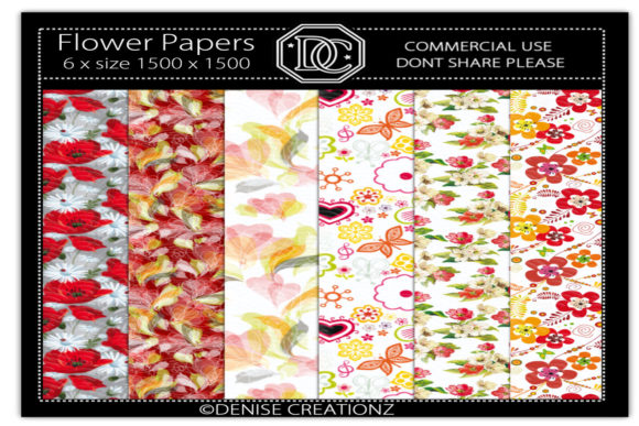 Download Free Flower Papers Graphic By Denise Creationz Creative Fabrica for Cricut Explore, Silhouette and other cutting machines.