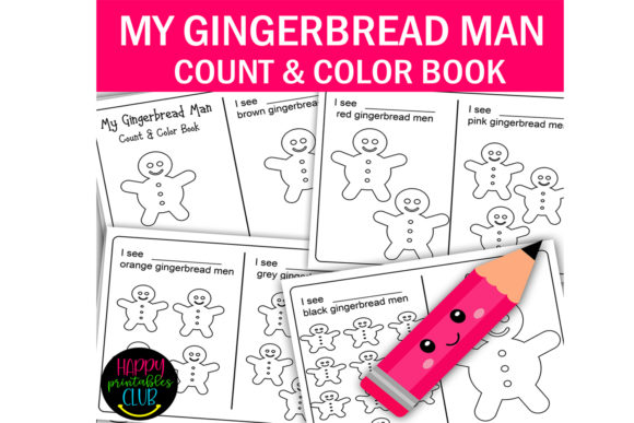 Download Free Gingerbread Man Count And Color Book Graphic By Happy Printables for Cricut Explore, Silhouette and other cutting machines.