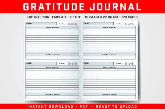 Print on Demand: Gratitude Journal Graphic KDP Interiors By balajikonline