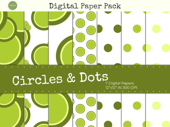 Download Free Green Circles And Polka Dots Paper Pack Graphic By Gifted Tribe for Cricut Explore, Silhouette and other cutting machines.