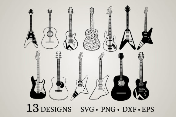Guitar Bundle Graphic Print Templates By Euphoria Design