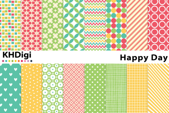 Download Free Happy Day Digital Paper Graphic By Khdigi Creative Fabrica for Cricut Explore, Silhouette and other cutting machines.