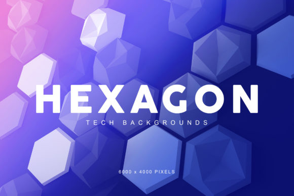 Print on Demand: Hexagon Tech Backgrounds 2 Graphic Backgrounds By ArtistMef