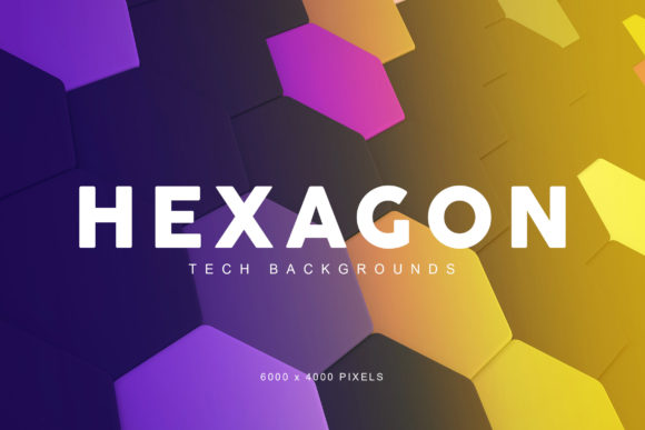 Print on Demand: Hexagon Tech Backgrounds Graphic Backgrounds By ArtistMef