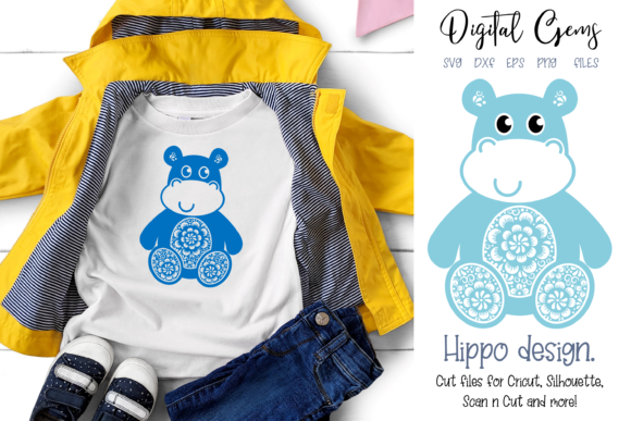 Hippo Design Graphic Crafts By Digital Gems - Image 1