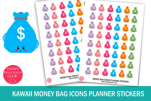 Download Kawaii Money Bag Icons Planner Stickers