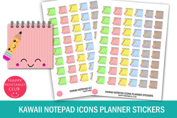 Kawaii Notepad Icons Planner Stickers SVG Cut Files