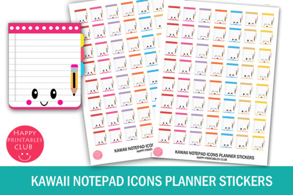 Print on Demand: Kawaii Notepad Icons Planner Stickers Graphic Crafts By Happy Printables Club