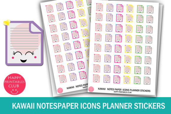 Print on Demand: Kawaii Notespaper Icons Planner Stickers Graphic Crafts By Happy Printables Club