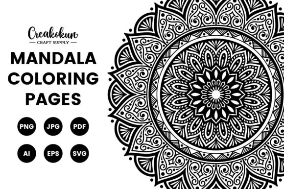 Mandala Illustration - Coloring Pages Graphic Coloring Pages & Books Adults By creakokunstudio