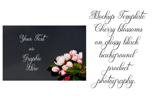 Mockup Template Cherry Blossoms On Black Graphic By A Design In