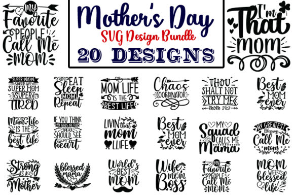 Download Free Mother S Day Design Bundle Graphic By Design Store Creative for Cricut Explore, Silhouette and other cutting machines.