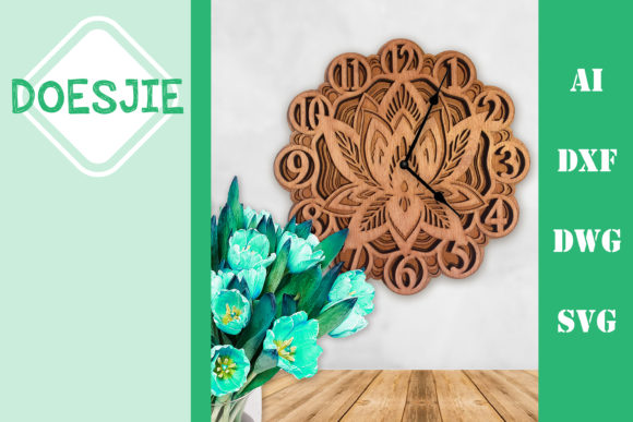 Multi Layer Mandala Clock Lotus Graphic 3D SVG By doesjie