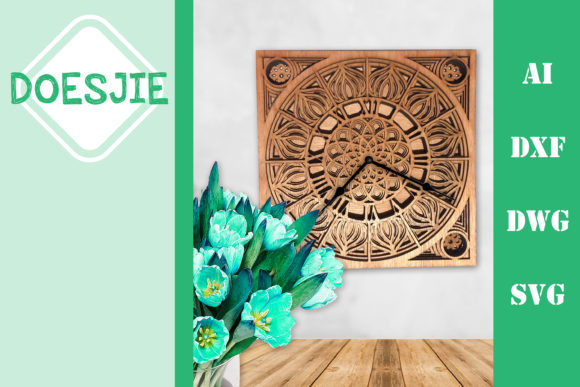 Multi Layer Mandala Clock Square Graphic 3D SVG By doesjie