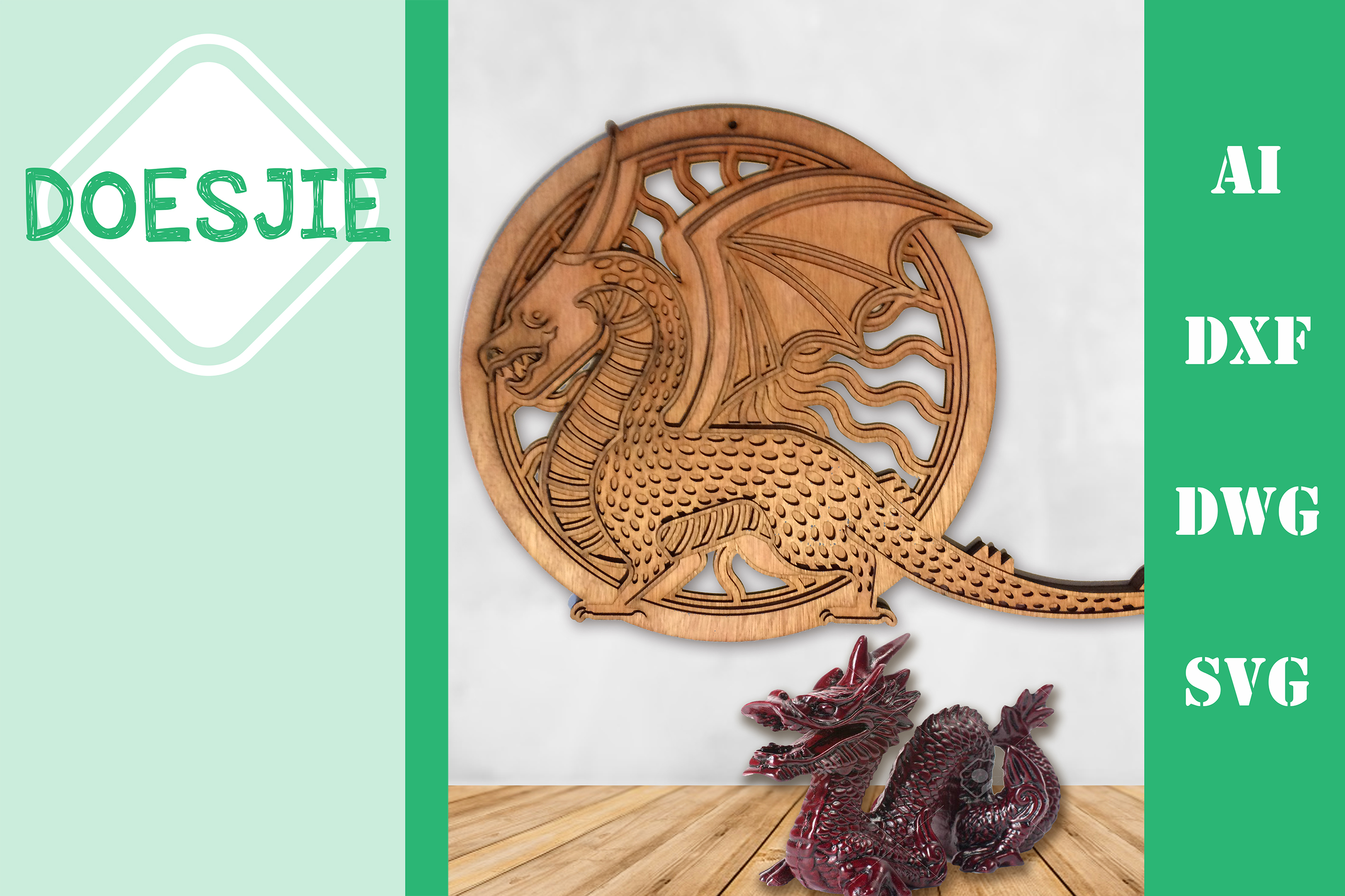Download Free Multi Layer Mandala Dragon Grafik Von Doesjie Creative Fabrica for Cricut Explore, Silhouette and other cutting machines.