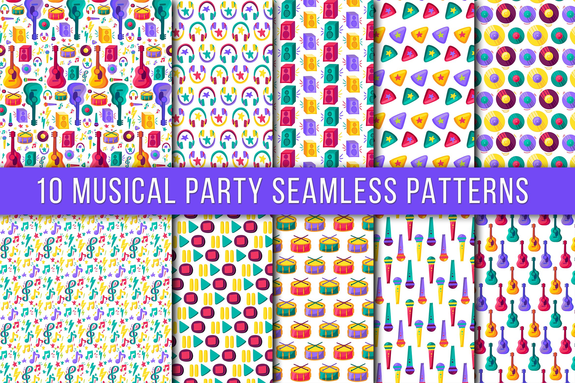 Download Free Musical Party Seamless Patterns Graphic By Barsrsind Creative for Cricut Explore, Silhouette and other cutting machines.