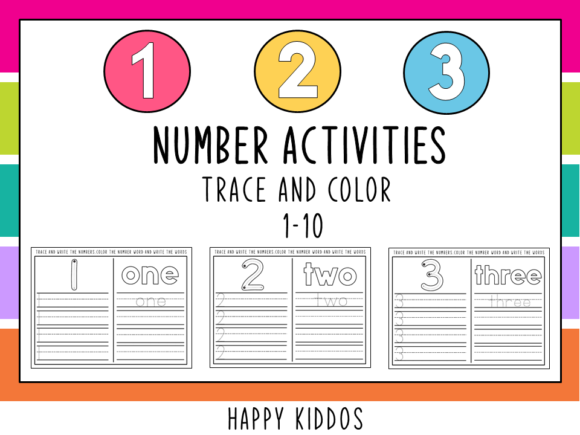 Number Activities: Trace and Color 1-10 Graphic K By Happy Kiddos