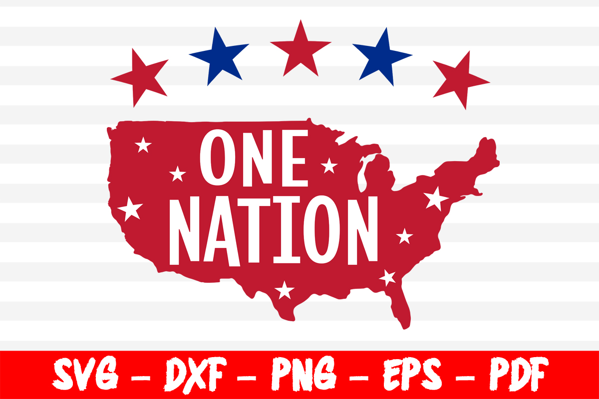 Download Free One Nation American Map 4th Of July Graphic By Bestsvgfiles for Cricut Explore, Silhouette and other cutting machines.