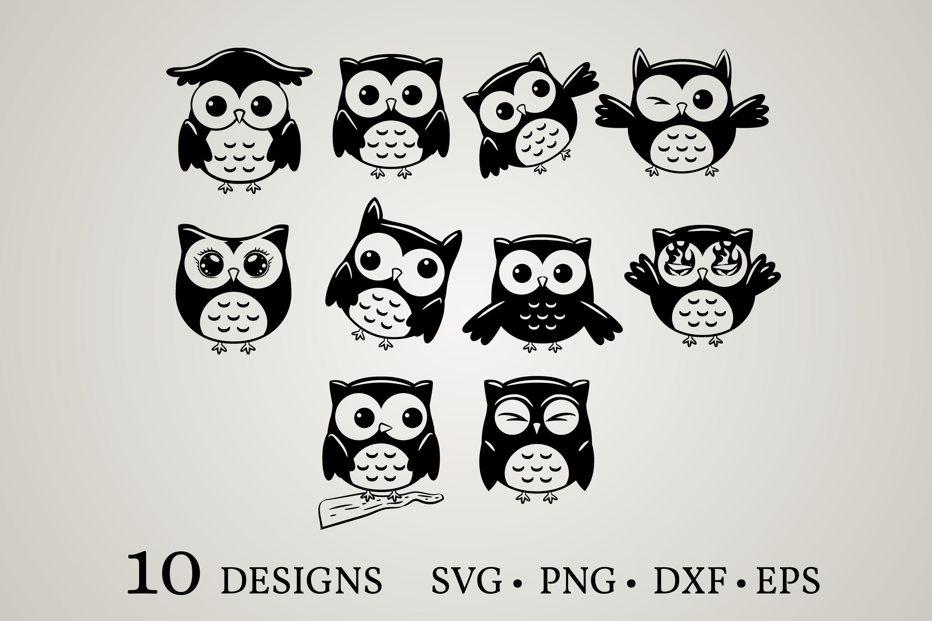 Download Free Owl Vector Bundle Graphic By Euphoria Design Creative Fabrica for Cricut Explore, Silhouette and other cutting machines.