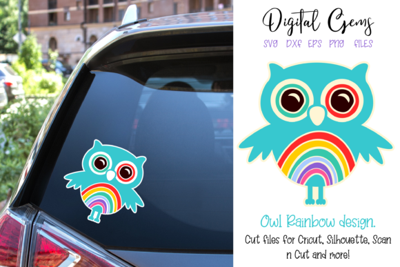Download Free Owl Rainbow Design Graphic By Digital Gems Creative Fabrica for Cricut Explore, Silhouette and other cutting machines.