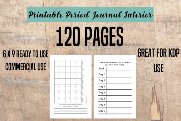 Download Free Period Journal Tracker Log Interior Kdp Graphic By for Cricut Explore, Silhouette and other cutting machines.