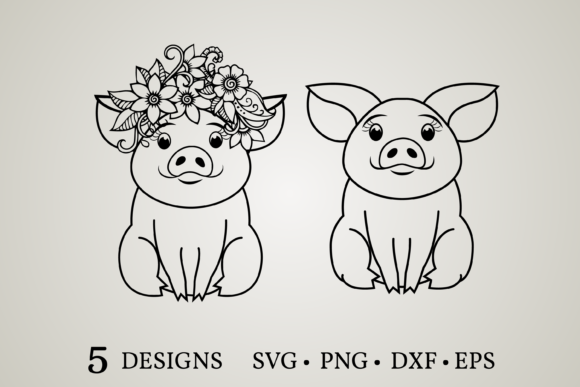 Download Free Cute Pig Graphic By Euphoria Design Creative Fabrica for Cricut Explore, Silhouette and other cutting machines.