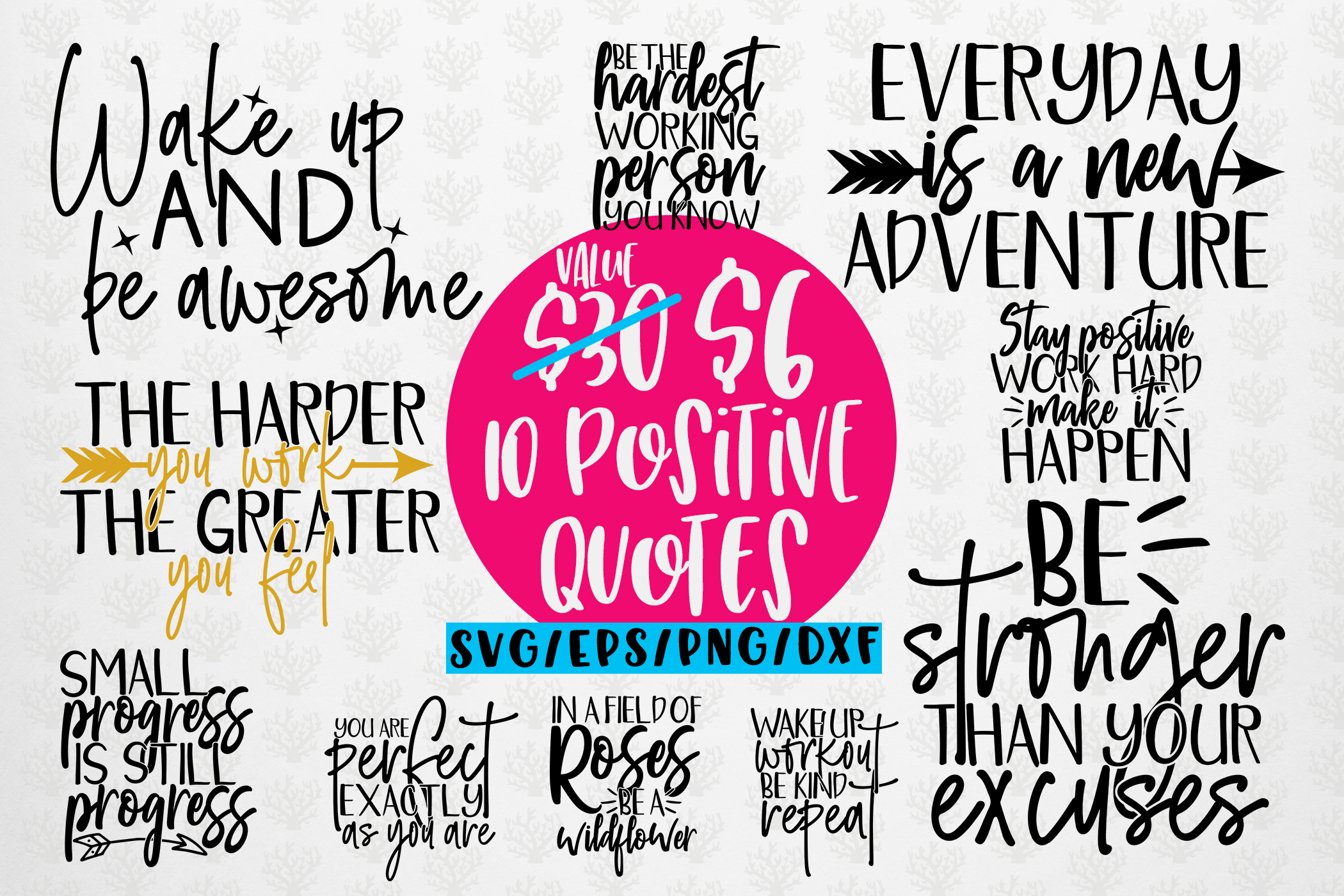 Download Free Positive Thoughts Quote Graphic By Coralcutssvg Creative Fabrica for Cricut Explore, Silhouette and other cutting machines.