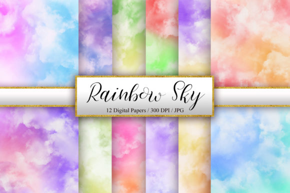 Rainbow Sky Watercolor Background Graphic Backgrounds By PinkPearly