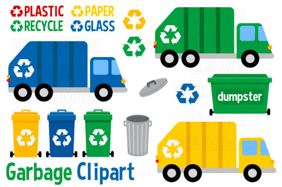 Recycling and Garbage Clipart Graphic Illustrations By magreenhouse