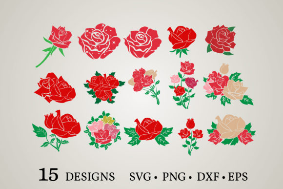 Download Free Rose Bundle Graphic By Euphoria Design Creative Fabrica for Cricut Explore, Silhouette and other cutting machines.