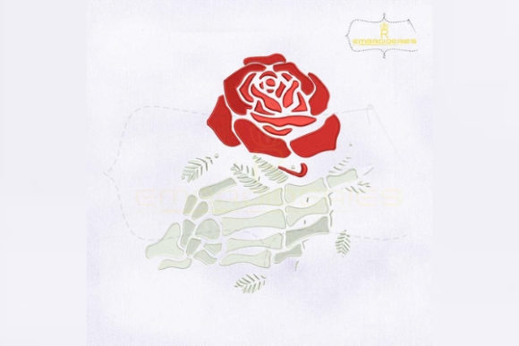 Rose in Skeleton Hand Single Flowers & Plants Embroidery Design By RoyalEmbroideries - Image 1