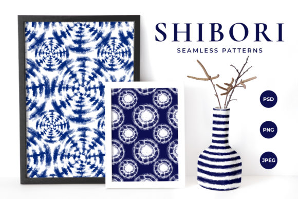 Download Free Shibori Tie Dye Seamless Patterns Graphic By Catjello Graphics for Cricut Explore, Silhouette and other cutting machines.