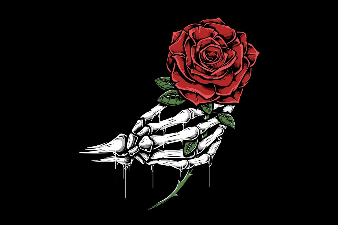 Download Free Skull Hand Holding A Rose Graphic By Epic Graphic Creative Fabrica for Cricut Explore, Silhouette and other cutting machines.