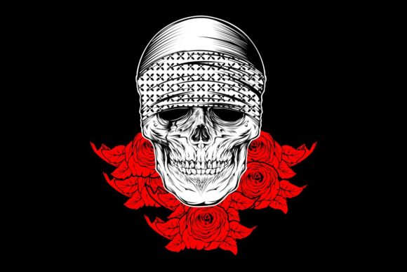 Download Free Skull Wearing Bandana With Rose Graphic By Epic Graphic for Cricut Explore, Silhouette and other cutting machines.