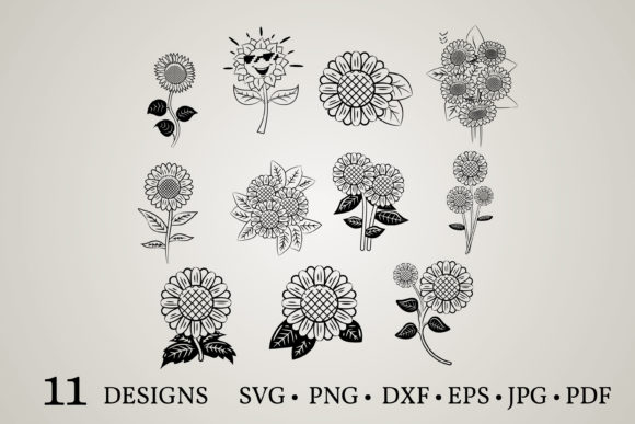 Download Free Sunflower Clipart Graphic By Euphoria Design Creative Fabrica for Cricut Explore, Silhouette and other cutting machines.