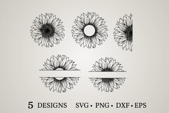 Sunflower Monogram Graphic Print Templates By Euphoria Design