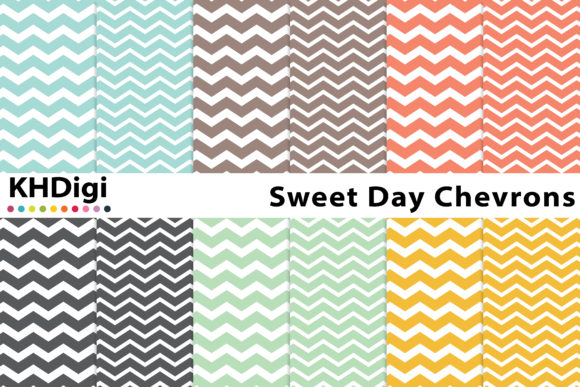 Print on Demand: Sweet Day Chevrons Digital Paper Graphic Backgrounds By KHDigi
