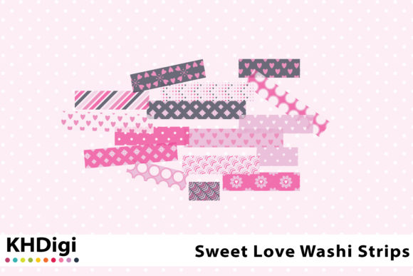 Download Free Sweet Love Washi Tape Graphic By Khdigi Creative Fabrica for Cricut Explore, Silhouette and other cutting machines.