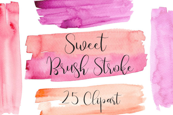 Sweet Watercolor Brush Stroke Clip Art Graphic Backgrounds By PinkPearly