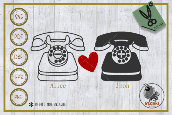 Download Free Classic Telephone In Love Graphic By Rizuki Store Creative Fabrica for Cricut Explore, Silhouette and other cutting machines.