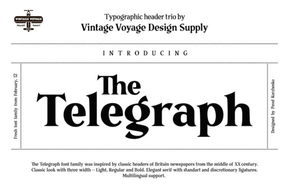 Download Free The Telegraph Font By Vintagevoyageco Creative Fabrica for Cricut Explore, Silhouette and other cutting machines.