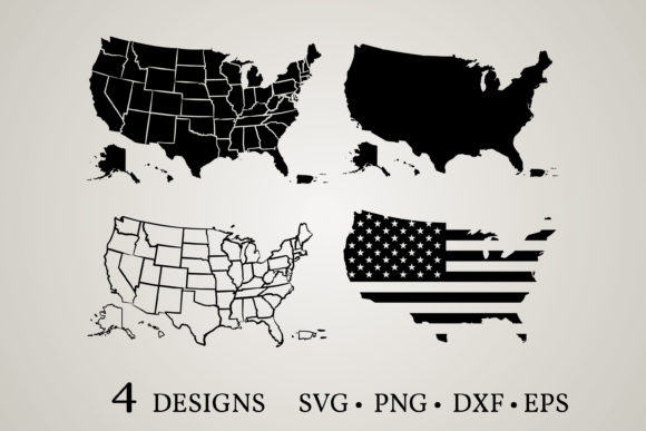 Download Free Usa Map Bundle Graphic By Euphoria Design Creative Fabrica SVG Cut Files