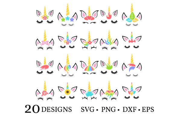 Unicorn Face Bundle  Graphic Print Templates By Euphoria Design