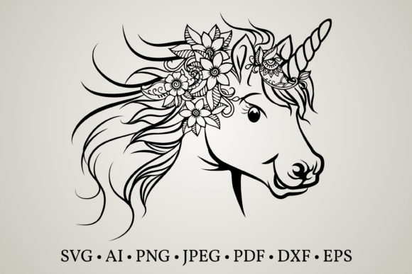 Unicorn Face Graphic Print Templates By Euphoria Design