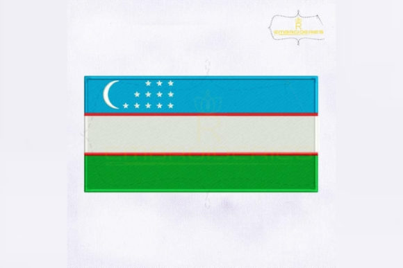 Uzbekistan Flag Asia Embroidery Design By RoyalEmbroideries