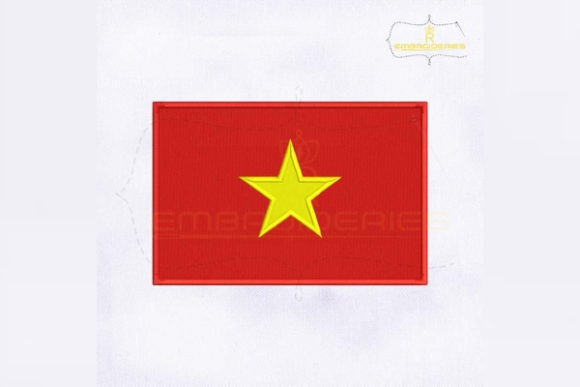 Vietnam Flag Asia Embroidery Design By RoyalEmbroideries