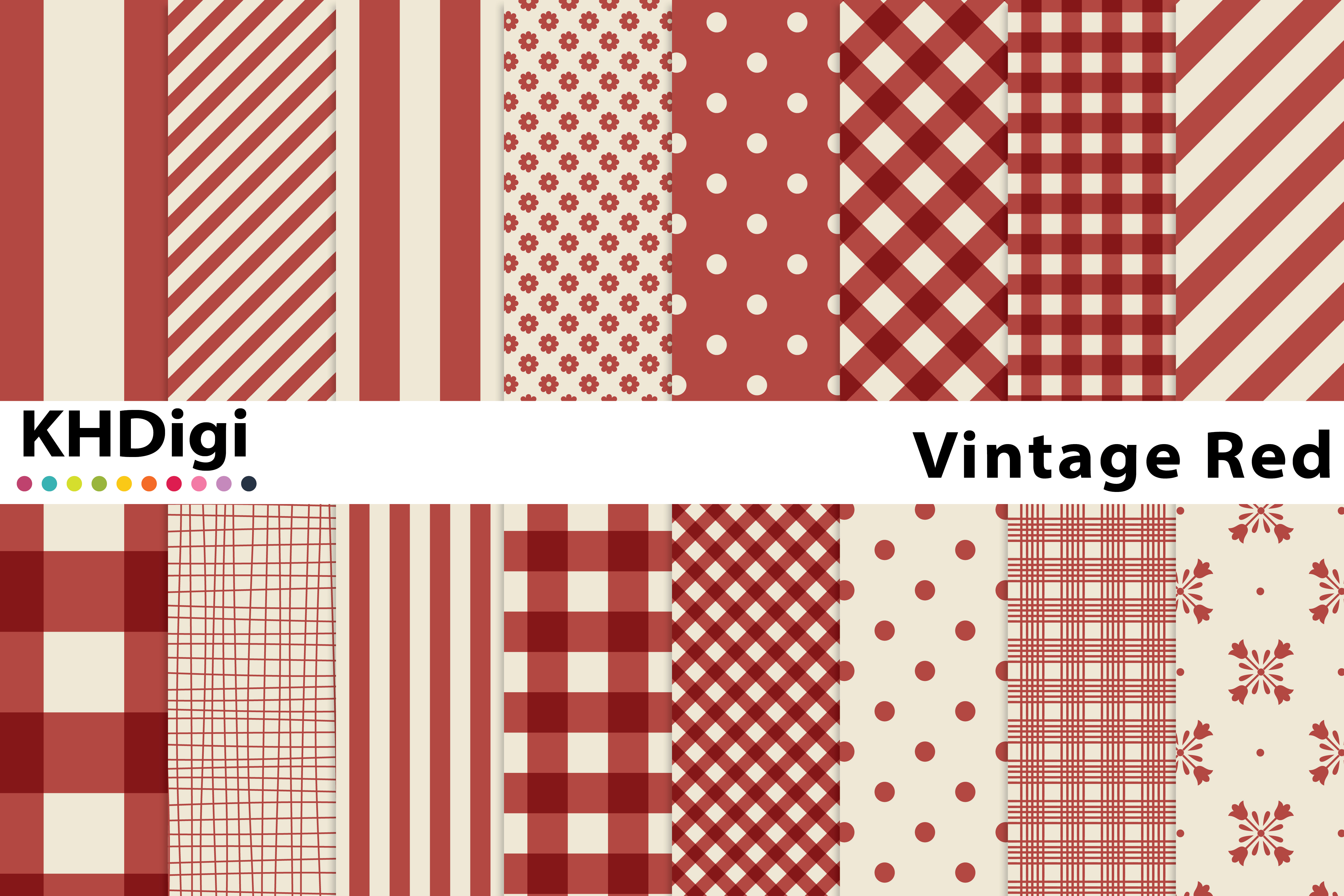 Download Free Vintage Red Digital Paper Graphic By Khdigi Creative Fabrica for Cricut Explore, Silhouette and other cutting machines.