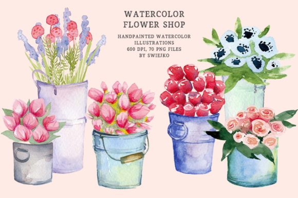 Print on Demand: Watercolor Flower Shop - Mother's Day Gráfico Ilustraciones Por swiejko