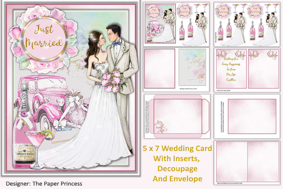 Download Free Watercolour Wedding Card Making Kit Graphic By The Paper for Cricut Explore, Silhouette and other cutting machines.